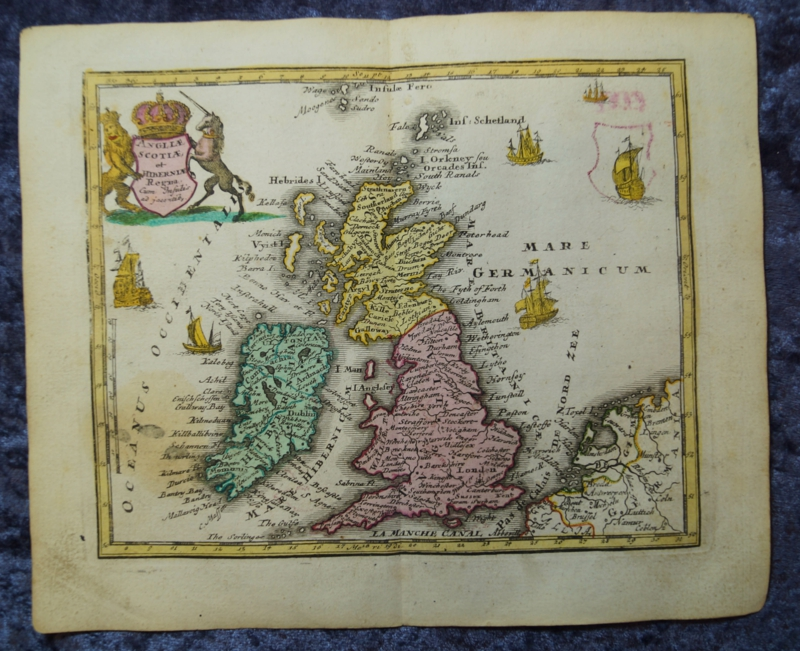 UK ENGLAND IRLAND SCOTLAND OLD COLOURED COPPER ENGRAVING MAP WEIGEL ...